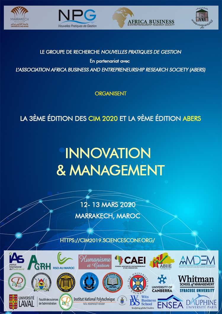 Appel à communications : 3ème édition des Conférences Internationales du Management - CIM Marrakech 2020